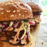 Toasted buns piled high with bbq jackfruit and cole slaw