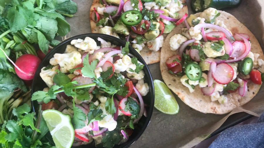 Cauliflower ceviche served on a whole grain tortilla tostada